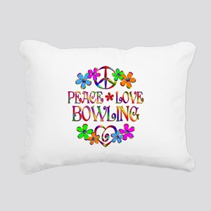 Peace Love Bowling Rectangular Canvas Pillow
