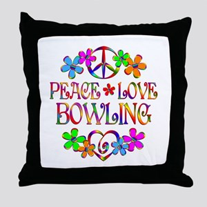 Peace Love Bowling Throw Pillow