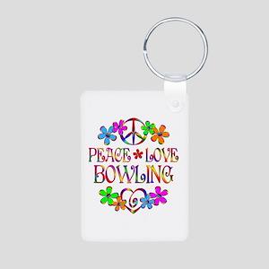 Peace Love Bowling Aluminum Photo Keychain