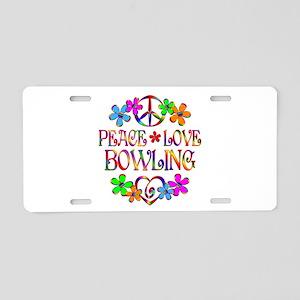 Peace Love Bowling Aluminum License Plate
