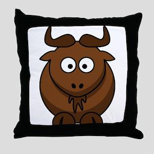 Cartoon Gnu Throw Pillow