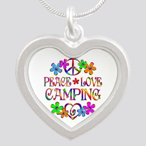 Peace Love Camping Silver Heart Necklace