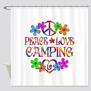 Peace Love Camping Shower Curtain