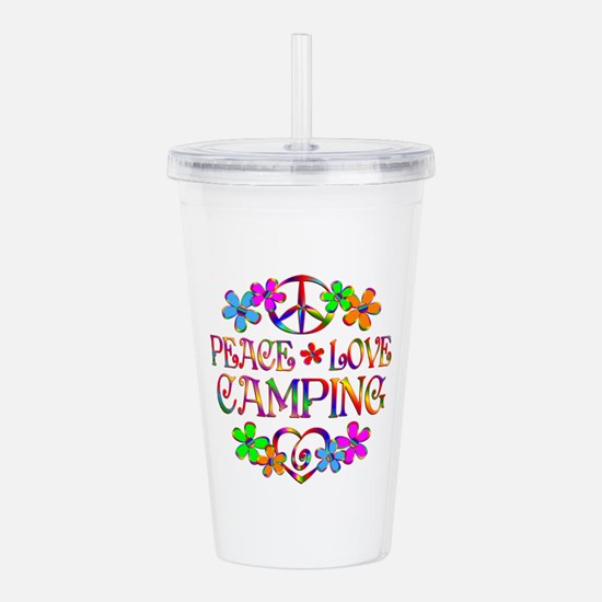 Peace Love Camping Acrylic Double-wall Tumbler