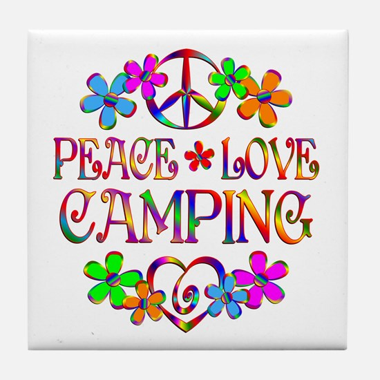 Peace Love Camping Tile Coaster