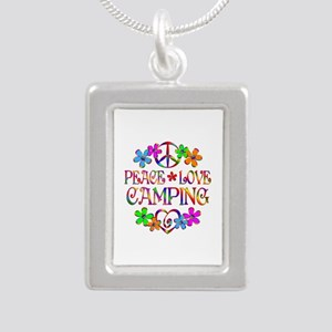 Peace Love Camping Silver Portrait Necklace