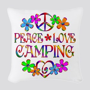 Peace Love Camping Woven Throw Pillow