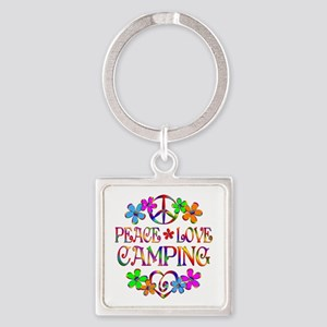 Peace Love Camping Square Keychain