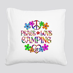 Peace Love Camping Square Canvas Pillow