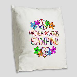Peace Love Camping Burlap Throw Pillow