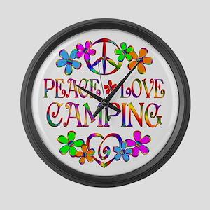 Peace Love Camping Large Wall Clock