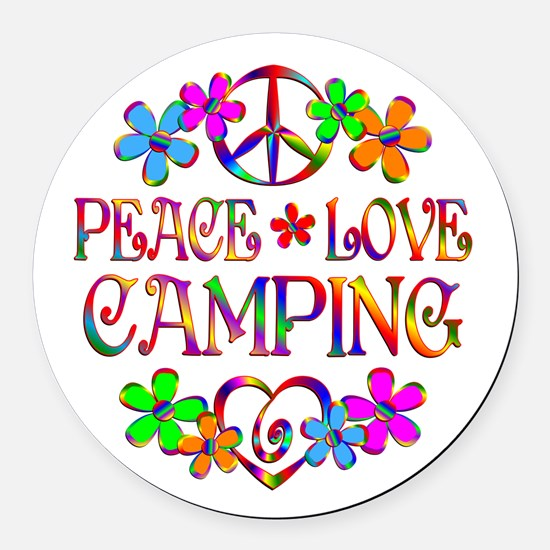 Peace Love Camping Round Car Magnet