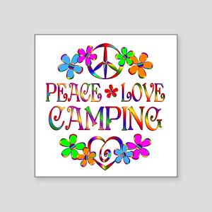 "Peace Love Camping Square Sticker 3"" x 3"""