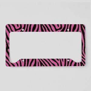 Pink Zebra License Plate Holder