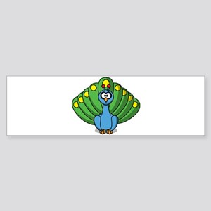 Cartoon Peacock Bumper Sticker