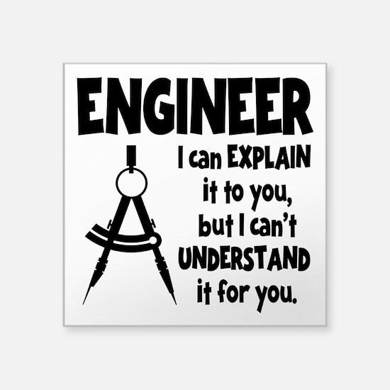 "ENGINEER COMPASS Square Sticker 3"" x 3"""