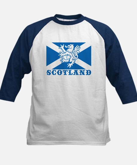 Flag of Scotland with Lion Kids Baseball Jersey