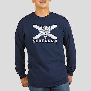 Flag of Scotland with Lion Long Sleeve Dark T-Shir