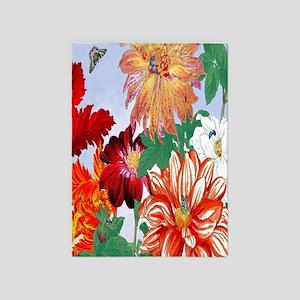 Dazzlin' Tulips, Dahlias, B'flies 5'x7'Area Rug