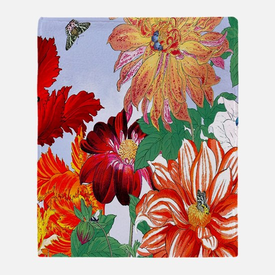 Dazzlin' Tulips, Dahlias, B'flies Throw Blanket