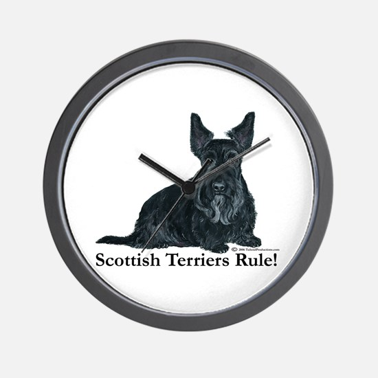 Scottish Terriers Rule! Wall Clock
