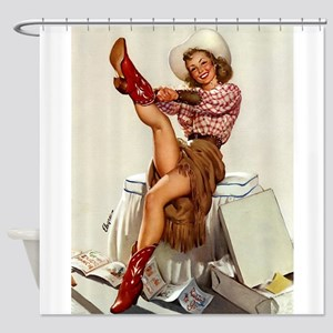 Pin Up Girl and Cowboy Boots Shower Curtain