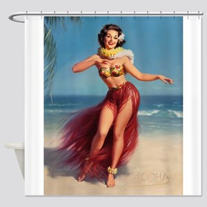Pin Up Girl; Aloha From Hawaii Shower Curtain