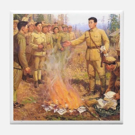 Kim Il Sung's Bonfire Tile Coaster