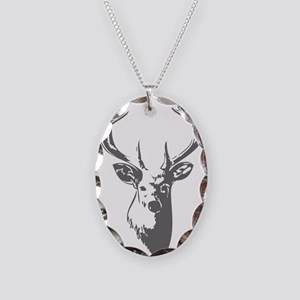 Deer Necklace Oval Charm
