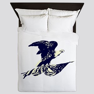 Vintage Eagle and American Flag Queen Duvet