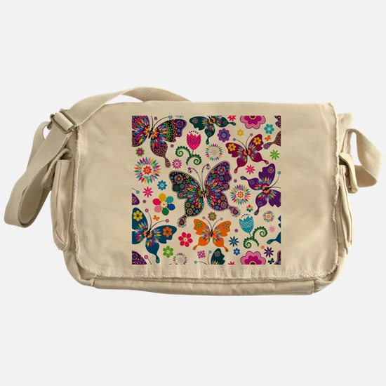 Colorful Flowers And Butterflies Pattern Messenger