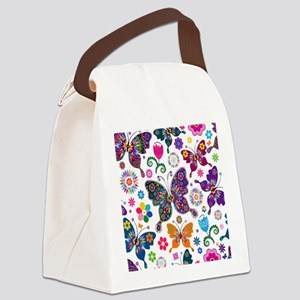 Colorful Flowers And Butterflies Pattern Canvas Lu