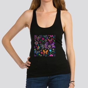 Colorful Flowers And Butterflies Pattern Racerback