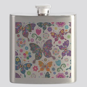 Colorful Flowers And Butterflies Pattern Flask