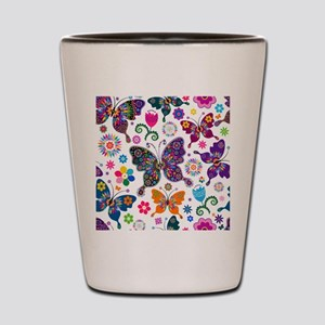 Colorful Flowers And Butterflies Pattern Shot Glas