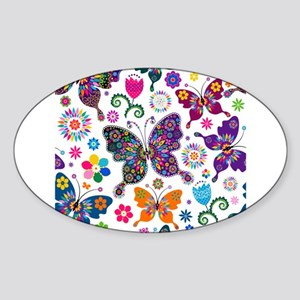 Colorful Flowers And Butterflies Pattern Sticker