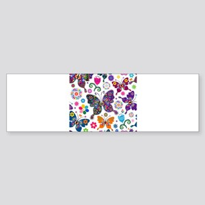 Colorful Flowers And Butterflies Pattern Bumper St