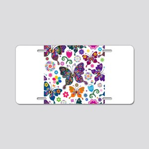 Colorful Flowers And Butterflies Pattern Aluminum