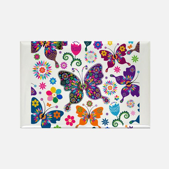 Colorful Flowers And Butterflies Pattern Magnets