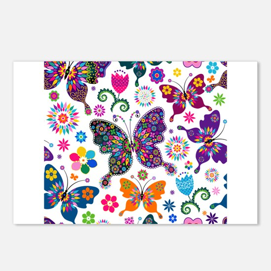 Colorful Flowers And Butterflies Pattern Postcards