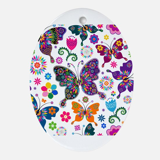 Colorful Flowers And Butterflies Pattern Ornament