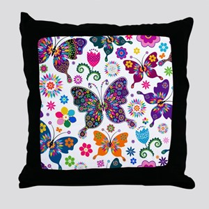 Colorful Flowers And Butterflies Pattern Throw Pil