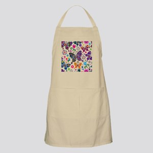 Colorful Flowers And Butterflies Pattern Apron