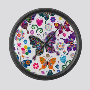 Colorful Flowers And Butterflies Pattern Large Wal