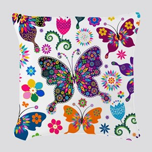Colorful Flowers And Butterflies Pattern Woven Thr