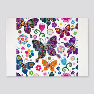 Colorful Flowers And Butterflies Pattern 5'x7'Area