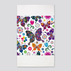 Colorful Flowers And Butterflies Pattern Area Rug