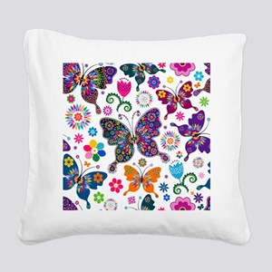 Colorful Flowers And Butterflies Pattern Square Ca