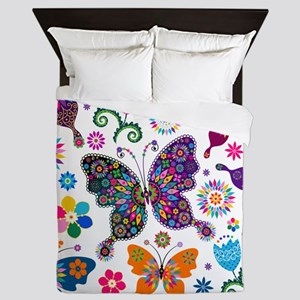 Colorful Flowers And Butterflies Pattern Queen Duv