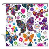 Flowers and butterflies Shower Curtains